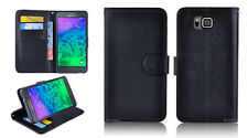 BLACK Premium New Wallet Leather Case Cover For Samsung Galaxy Alpha G850