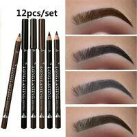 12PCS Eye Brow Eyeliner Eyebrow Pen Pencil Waterproof Makeup Cosmetic Tool