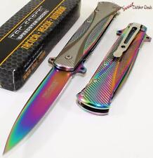 TAC-FORCE Super Titanium Rainbow Godfather Stiletto Spring Assisted Pocket Knife