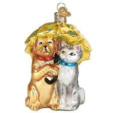 RAINING CATS & DOGS OLD WORLD CHRISTMAS GLASS UMBRELLA ORNAMENT NWT 12501