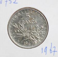 "Frankreich: 5 Francs 1967 Silver, KM# 926, SS-VF, #F 2405, ""Semeuse"""
