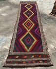 Authentic Hand Knotted Suzani Kilim Kilm Wool Area Runner 8 x 2 Ft (2819 HMN)