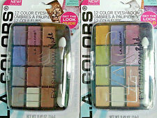 LA COLORS  EYESHADOW 2 PALETTES Green LILACS BROWNS BOLDS BRIGHT 24 COLORS