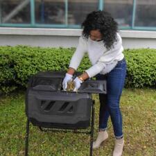 Compost Tumbler 43-Gallon Garden Waste Bin Grass Food Trash Barrel Fertilizer