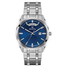 Bulova Men's Quartz Blue Dial Silver-Tone Bracelet 39mm Watch 96C125