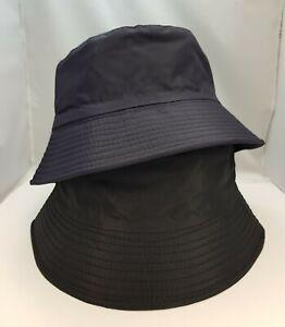 BLACK,NAVY COTTON WATER PROOF UNISEX FISHERMAN'S BUCKET RAIN HAT REVERSIBL