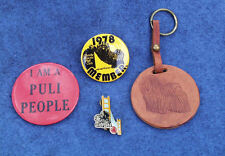 Dog Show Pins And Leather Key Fob Hungarian Puli Vintage Collection 1970's