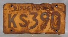 1936 Pennav License Plate Garage Decor Man Cave Automobilia used # KS-390