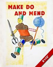 WWI MAKE DO & MEND CLOTHES SEW PROPAGANDA POSTER PAINTING REAL CANVASART PRINT