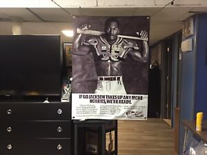 HUGE 43x32 BO JACKSON Vinyl Banner POSTER Auburn Tigers  art Oakland Raiders NEW
