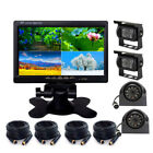 "7"" Quad DVR Monitor 4 Video+4x Reversing CCD Camera+4x 10M 4Pin Cable For Truck"