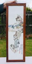 V-Fine Antique Chinese Famille Rose Porcelain Plaque Murale Cadre en Bois République