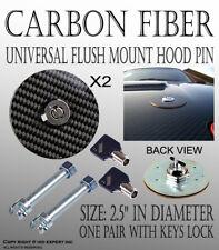 ICBEAMER Round 100% Real Carbon Fiber Mount Bonnet Hood Lock Pins Kit w/ Key W32