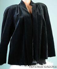 VTG 80s Black Velvet Open Front Cocktail Opera Blazer Jacket Top Sz L