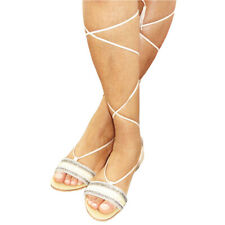 LADIES WOMENS FLAT LACE UP LEG STRAPPY GLADIATOR SUMMER SANDALS CREAM SHOES SZ 6