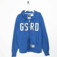 Vintage G-STAR RAW Big Logo Zip Up Hoodie Sweatshirt Blue | Medium M | Grade B