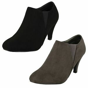 Ladies Black / Grey Anne Michelle Low Cut Heeled Ankle Boots : F5R0693