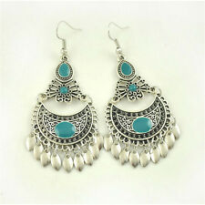 Turkish Style Silver Color Ethnic Earrings with Turquoise stones and leaves