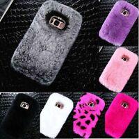 Warm Winter Soft Fluffy Rabbit Fur Case Crystal Hard Phone Cover for Samsung
