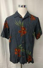 Tommy Bahama Blue with Orange Flowers S/S Floral Hawaiin Camp Shirt S Small