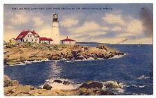 Portland Head Light Casco Bay Portland Maine Vintage Linen Postcard