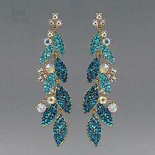 18K Gold Plated GP Aqua Blue Crystal Rhinestone Drop Dangle Earrings 01612 Prom
