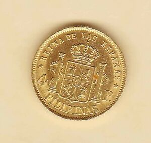 SPANISH Philippine ISABEL ll 4 pesos 1868 GOLD coin nice condition XF