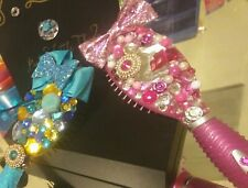 Handcrafted Jeweled Round Hair Brush Pink Bow Girly Bling Glitz Glam Princess