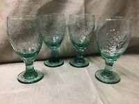 Orchard Fruit Green By Libbey Glass Co, Set Of 4 Water Goblets, Discontinued 01