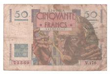 Billet 50 francs Le Verrier 07/06/1951 TTB- Date rare