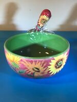 Bella Casa by Ganz Dip Bowl with Matching Spreader Spring Flowers Green Red