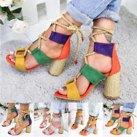 Women Suede Sandals Lace Up Hemp Rope Thick High Heels Summer Shoes Sandals New
