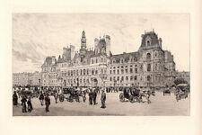 """Original A. P. MARTIAL 1800s Historic Etching """"The Famous Hotel De Ville"""" COA"""