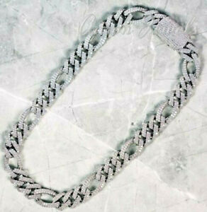 "7.75ct E/VS1 MOISSANITE Men's 12mm x 24"" Miami Cuban Link Chain White Gold over"