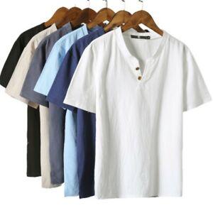 Sommer Herren Baumwolle Leinen T-Shirt Tops V-Ausschnitt Plain Kurzarm T-Shirts