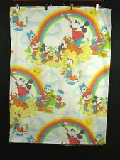 Vintage 70s Mickey Mouse Rainbow Twin Sheet Flat