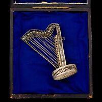 Antique Vintage Art Nouveau Sterling 800 Silver Harp Filigree Cannetille Pendant