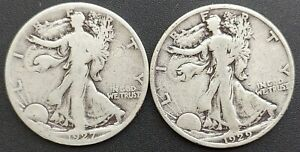 1927-S & 1929-S  Walking Liberty Half Dollars (Lot Of Two) From An Estate