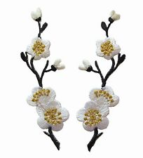 #3959B Lot 2Pcs Black White Quince,Sakura Flower Embroidery Applique Patch