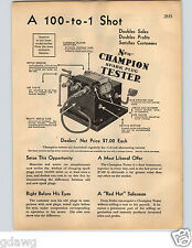 1936 PAPER AD 12 PG Champion Spark Plugs Tester Spec Sheets Race Car Drivers