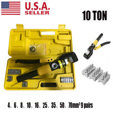 10 Ton Hydraulic Wire Battery Cable Lug Terminal Crimper Crimping Tool Amp 8 Dies