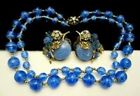 """Rare Vintage Signed Miriam Haskell Blue Art Glass 18"""" Necklace & Earring Set A2"""