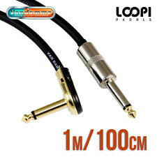 "1m 1/4"" Pancake to Straight Guitar Effect Patch Cable - Van Damme Cable"