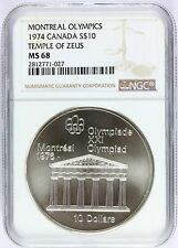 1974 Canada Montreal Olympics Temple of Zeus Silver $10 Coin NGC MS 68 - KM# 94