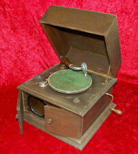 Altes Tisch-Grammophon mit Sonanza Luxus Schalldose + Album mit Schellackplatten