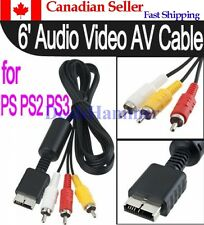 6 Ft Audio Video AV Cable to RCA, For PlayStation PS / PS2 / PS3.