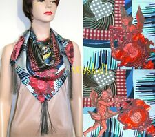 """CHRISTIAN LACROIX blue ANGELS Celestial Charts TASSELS silk 34"""" scarf NWT Authen"""