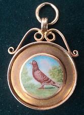 Superb 9ct Rose Gold & Enamel Pigeon Fob Medal / Pendant - Thomas Fattorini 1924