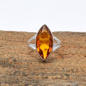 Extraordinary Citrine Topaz Gemstone 925 Sterling Silver Handmade Ring All Size