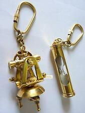 Keychain set of Brass Theodolite and hourglass